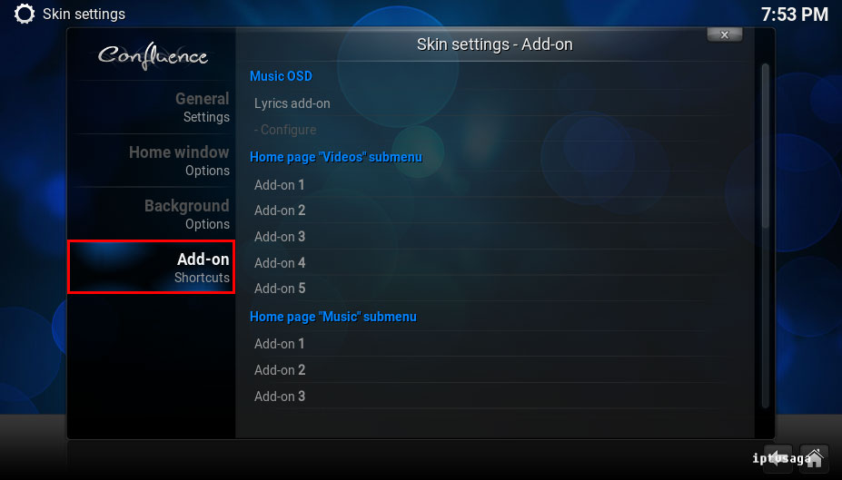 kodi-configure-skin-add-on-shortcuts